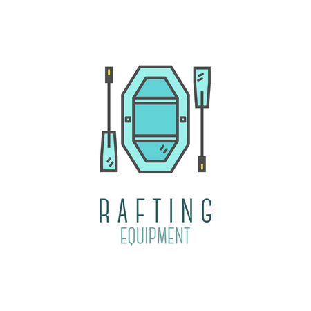 Cute minimal rafting equipment shop icon, logo, label or line badge. Outdoor adventure emblem, nice color design. Best for equipments shop, campsite, travel site, flyer, banner, poster. . Imagens