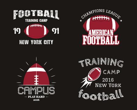 アメリカン フットボール チーム キャンパス バッジ ロゴ、ラベル、レトロなカラー スタイルの徽章のセットです。ビンテージ デザインの t シャツ、web。暗い背景に分離されたカラフルなプリント。図 写真素材 - 85456358