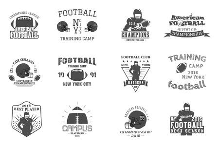 Universiteitsrugby en Amerikaans voetbalteam, campus, de emblemen van universiteitskentekens etiketteert insignes in retro stijl. Grafisch vintage ontwerp voor t-shirt, web Monochrome print geïsoleerd op een witte achtergrond. . Stockfoto