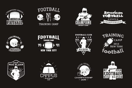 College rugby and american football team campus, college badges, logos labels insignias in retro style Graphic vintage design for t-shirt, web. Monochrome print isolated on a black background. .