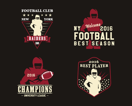American football player, team badges, logos, labels, insignias in retro color style. Graphic vintage design for t-shirt, web. Colorful print isolated on a dark background. illustration Stock Photo
