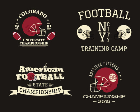 American football championship, team training camp badges, logos, labels, insignias in retro color style. Graphic vintage design for t-shirt, web. Colorful print isolated on a dark background. . Stock Photo