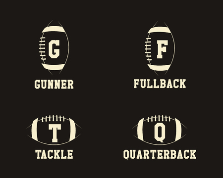 American football badge monograms with players positions, sport logo, label, insignia set in retro color style. Graphic vintage design for t-shirt, web. Print isolated on a dark background. . Stock Photo