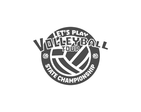 Volleyball label, badge, logo and icon. Sports insignia. Best for volley club, league competition, sport shops, sites or magazines. Use it as print on tshirt. Volleyball tour. illustration Stock Photo