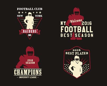 American football-speler, teambadges, kampioenschapslogo's, labels, insignes in retro-kleurstijl. Grafisch vintage ontwerp voor t-shirt, web. Kleurrijke print geïsoleerd op een donkere achtergrond. .