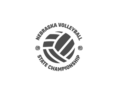 sports equipment: Volleyball label, badge, logo and icon. Sports insignia. Best for volley club, league competition, sport shops, sites or magazines. Use it as print on tshirt. Monochrome design. illustration Stock Photo