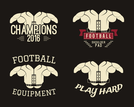 two: Collection of shoulder pads labels, stamps, logos, motivation insignias. A piece of protective equipment used in many contact sports such as American football. Best for t-shirt, web. .