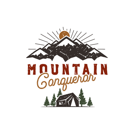 Traveling, outdoor badge. Scout camp emblem. Vintage hand drawn design. Mountain conqueror quote. Stock vector illustration, insignia, rustic patch. Isolated on white background