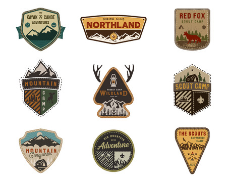 Traveling, outdoor badge collection. Scout camp emblem set. Vintage hand drawn design. Stock vector illustration, insignias, rustic patches. Isolated on white background Çizim