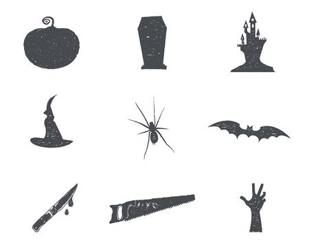 ハロウィーン シルエット isons のセットです。ヴィンテージ手描きハロウィーン パーティーはシンボルの祝日を祝うためのデザインです。白黒のレ  イラスト・ベクター素材