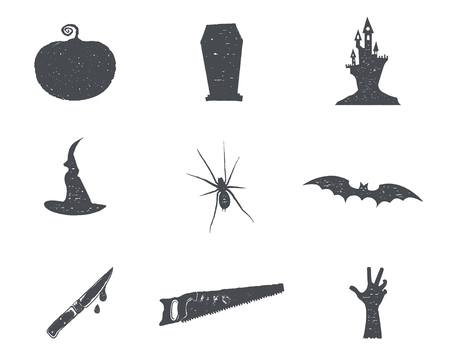 Set of halloween silhouette isons. Vintage hand drawn Halloween party symbols design for celebrating holiday. Retro monochrome style. Stock vector isolated on white background