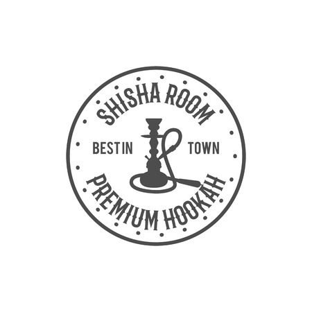 Hookah relax label, badge. Vintage shisha room logo. Lounge cafe emblem. Arabian bar or house, shop. Isolated. Stock vector illustration. Monochrome design