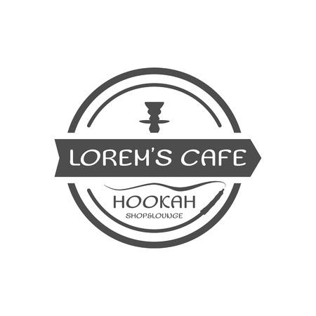 Hookah relax label, badge. Vintage shisha logo. Lounge cafe emblem. Arabian bar or house. Isolated. Stock vector illustration. Monochrome design.