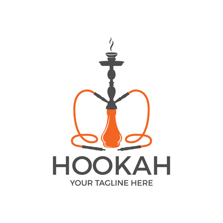 Hookah logo design, label, badge. Vintage shisha logo. Lounge cafe emblem. Arabian bar or house, shop. Isolated. Stock vector illustration Illustration
