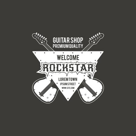 Rock star guitar shop vector label, badge, emblem logo with musical instrument. Stock vector illustration isolated on dark background. Illustration