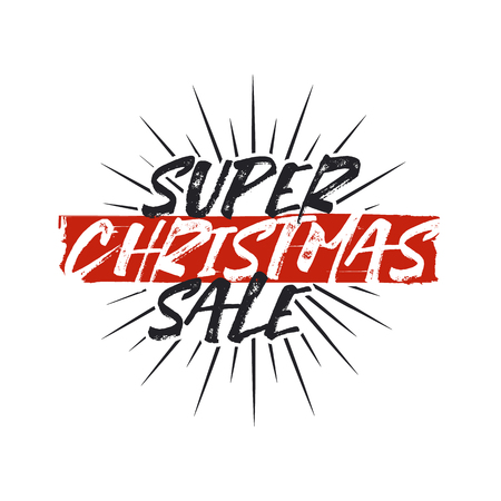 Super Christmas sale lettering and typography elements. Holiday Online shopping type quote. Stock vector illustration isolated on white background Illustration