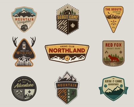 Traveling, outdoor badge collection. Scout camp emblem set. Vintage hand drawn design. Stock vector illustration, insignias, rustic patches. Isolated on grey