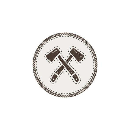crossed axes icon. Monochrome camping design isolated on white background. Hiking vintage symbol. Retro hand drawn travel element Illustration