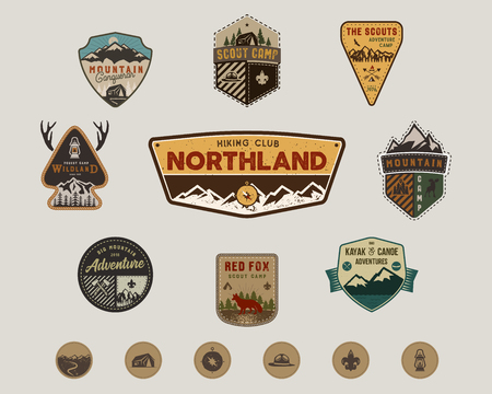 Traveling, outdoor badge collection. Scout camp emblem set and hiking stickers, icons. Vintage hand drawn design. Stock vector illustration, insignias, rustic patches. Isolated on white background Ilustração