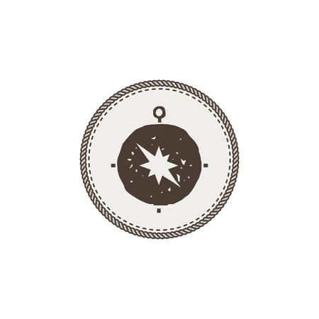 Kompass-Symbol, Aufkleber. Abenteuersymbol und Patch. Vektorillustration auf Lager. Isoliert auf weißem Hintergrund Standard-Bild - 87266167
