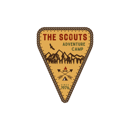 Traveling, outdoor badge. Scout adventure camp emblem. Vintage hand drawn design. Retro colors palette. Stock vector illustration, insignia, rustic patch. Isolated on white background