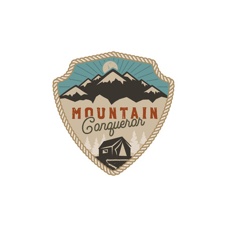Traveling, outdoor badge. Mountain conqueror emblem. Vintage hand drawn design. Retro colors palette. Stock vector illustration, insignia, rustic patch. Isolated on white background