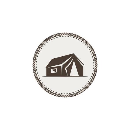 テント アイコンを分離します。白い背景に分離されたモノクロ キャンプ デザイン。ビンテージのシンボルをハイキングします。レトロな手描きの