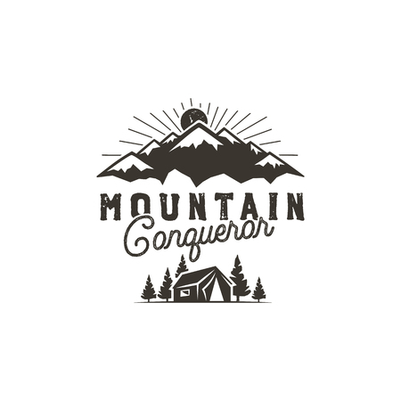 Traveling, outdoor badge. Scout camp emblem. Vintage hand drawn monochrome design. Mountain conqueror quote. Stock vector illustration, insignia, rustic patch. Isolated on white background