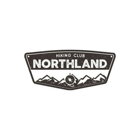 Hiking club badge. Scout adventure camp emblem. Vintage hand drawn design. Retro monochrome design. Stock vector illustration, insignia, rustic patch. Isolated on white background