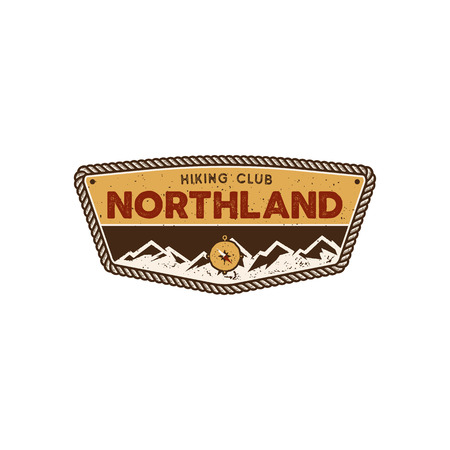 Hiking club badge. Scout adventure camp emblem. Vintage hand drawn design. Retro colors North land design. Stock vector illustration, insignia, rustic patch. Isolated on white background 向量圖像