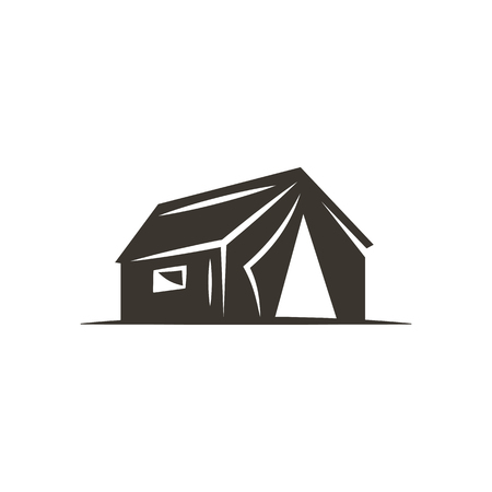 textile image: tent icon isolated on white background. Solid adventure symbol. Monochrome design. Use for logo creation. Stock vector illustration