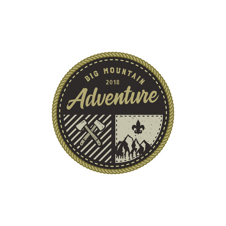 Traveling, outdoor badge. Big mountain adventure camp emblem. Vintage hand drawn design. Retro colors palette. Stock vector illustration, insignia, rustic patch. Isolated on white background