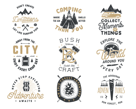 Vintage hand drawn travel badge and emblem set. Hiking labels. Outdoor adventure inspirational logos. Typography retro style. Motivational quotes for prints, t shirts, travel mug. Stock design Stock Photo