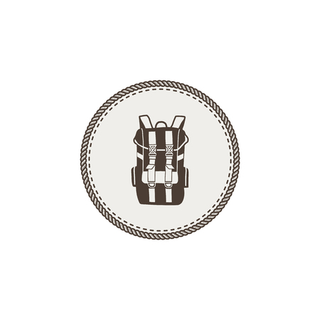 accessory: Backpack icon, patch and sticker on white background.