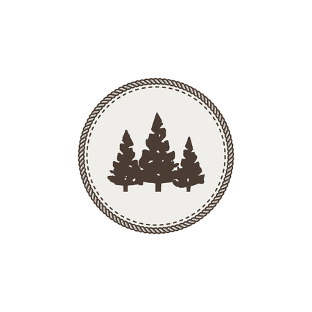 park: Trees icon, patch and sticker on white background.