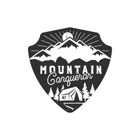 Traveling, outdoor badge on white background. 向量圖像