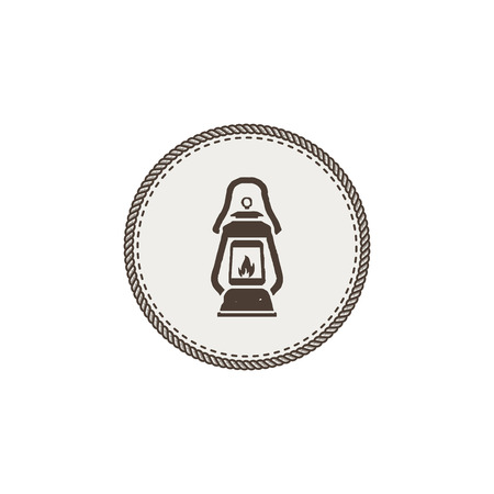 Vintage camping lantern patch isolated on white background.