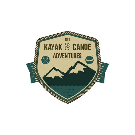 Kayak and Canoe adventures badge on white background.