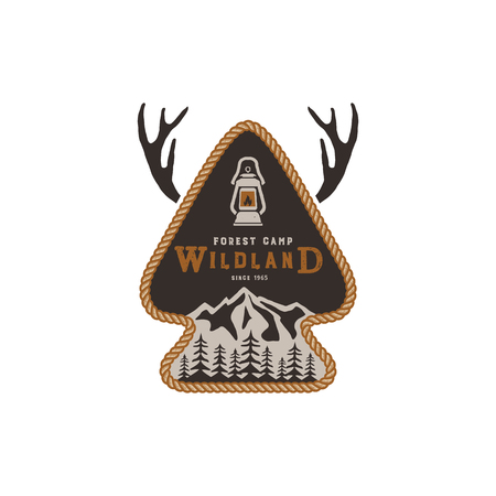Hiking club badge on white background.