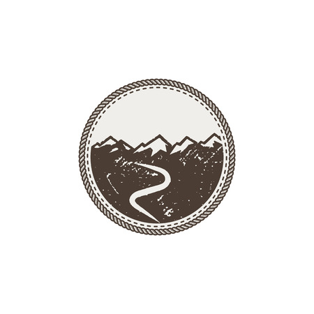 forme: Mountain patch and sticker on white background.