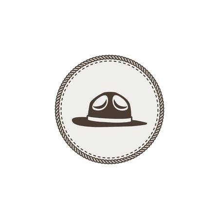 白い背景の上の帽子ステッカー アイコンをスカウトします。