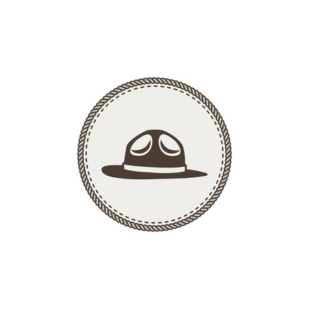 Scout hat sticker icon on white background. Ilustrace