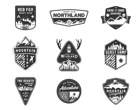 Traveling, outdoor badge collection on white background.