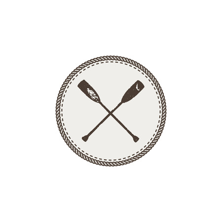 Crossed paddles icon patch and sticker on white background.