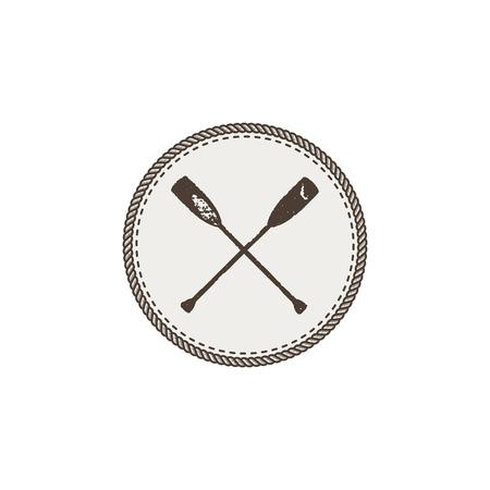 Patch d'icône de pagaies croisées et autocollant sur fond blanc. Vecteurs