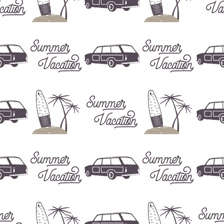 Surfing old style car pattern design. Summer seamless wallpaper with surfer van, surfboards, palms. Monochrome combi car. illustration. Use for fabric printing, web projects, t-shirts. Stock Photo