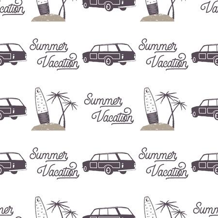 Surf diseño de patrón de coche de estilo antiguo. Papel tapiz transparente de verano con furgoneta surfista, tablas de surf, palmeras. Coche combi monocromo ilustración. Uso para impresión de telas, proyectos web, camisetas. Foto de archivo - 87564113