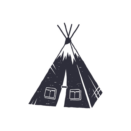Hand drawn camp tent shape. Indian style tent. Monochrome design. Camping icon, pictogram. Stock isolated on white background Stock Photo