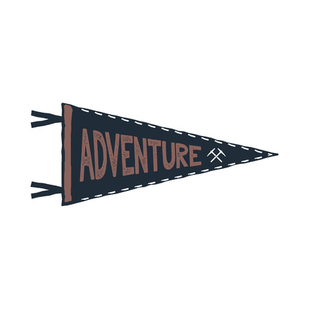 Adventure pennant design. Monochrome pendant template. Typography pennant isolated on white background. Stock illustration isolated on white