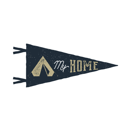 Vintage hand drawn pennant template. Tent is my home sign. Retro textured, letterpress effect. Outdoor adventure style. Stock isolated on white background. Monochrome patch